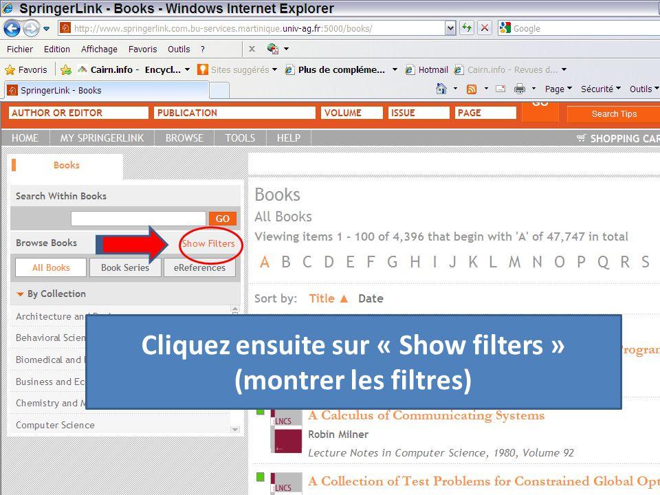 Cliquez ensuite sur « Show filters » (montrer les filtres)