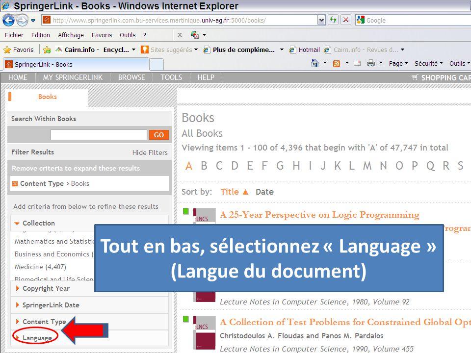 Tout en bas, sélectionnez « Language » (Langue du document)