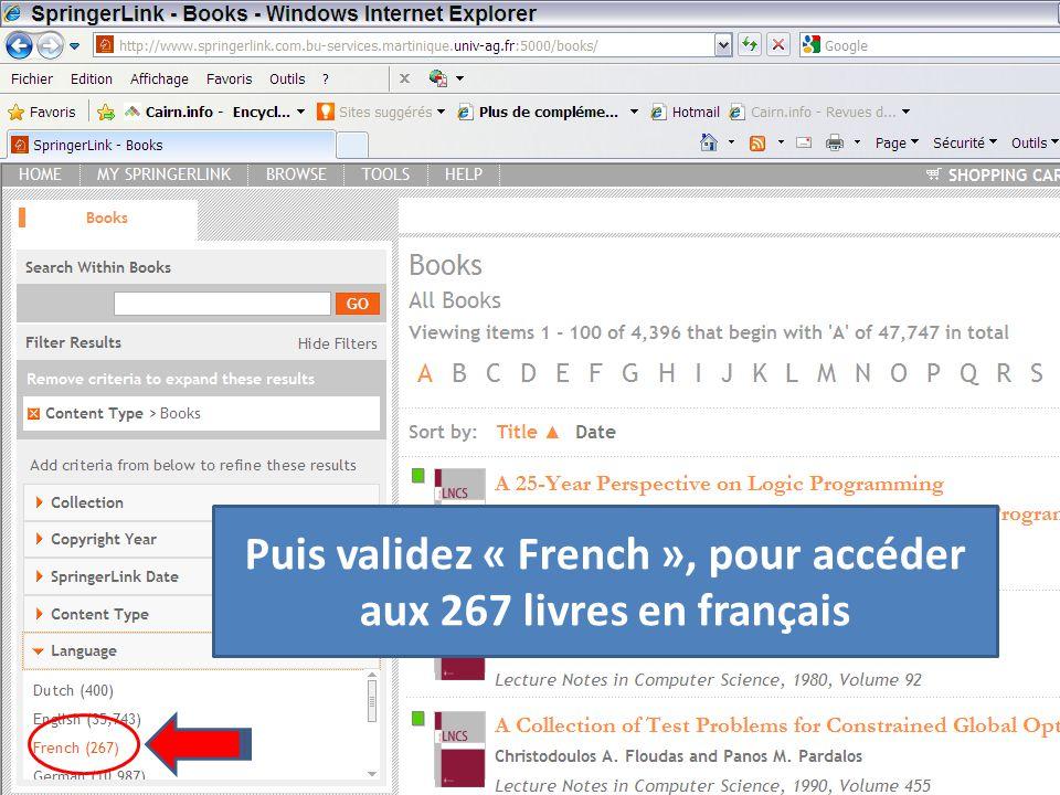 Puis validez « French », pour accéder aux 267 livres en français