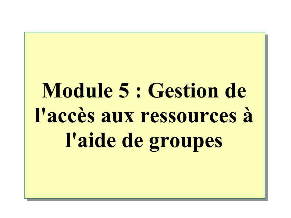 Vue d ensemble Présentation des groupes Windows 2000 Implémentation de groupes dans un groupe de travail Implémentation de groupes dans un domaine Conseils pratiques