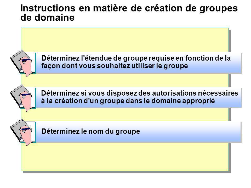 Instructions en matière de création de groupes de domaine Déterminez si vous disposez des autorisations nécessaires à la création d'un groupe dans le