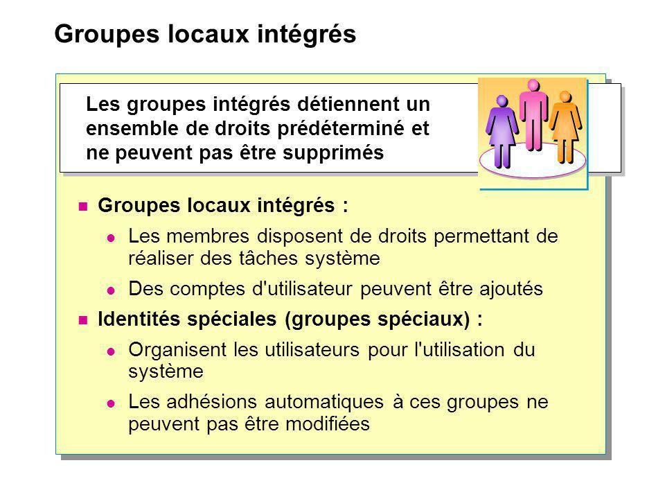 Groupes locaux intégrés Groupes locaux intégrés : Les membres disposent de droits permettant de réaliser des tâches système Des comptes d'utilisateur
