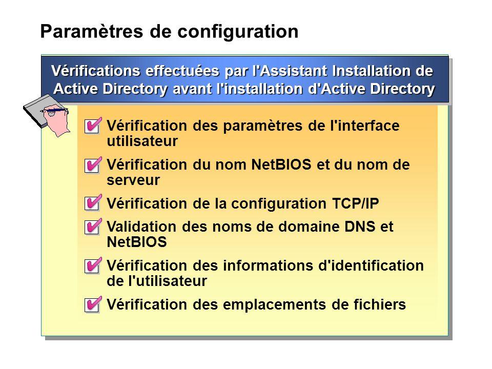 Paramètres de configuration Vérification des paramètres de l interface utilisateur Vérification du nom NetBIOS et du nom de serveur Vérification de la configuration TCP/IP Validation des noms de domaine DNS et NetBIOS Vérification des informations d identification de l utilisateur Vérification des emplacements de fichiers Vérifications effectuées par l Assistant Installation de Active Directory avant l installation d Active Directory