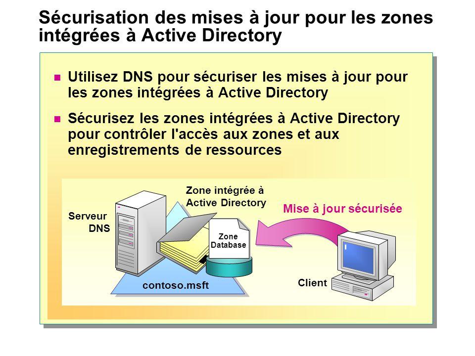 Sécurisation des mises à jour pour les zones intégrées à Active Directory Utilisez DNS pour sécuriser les mises à jour pour les zones intégrées à Acti