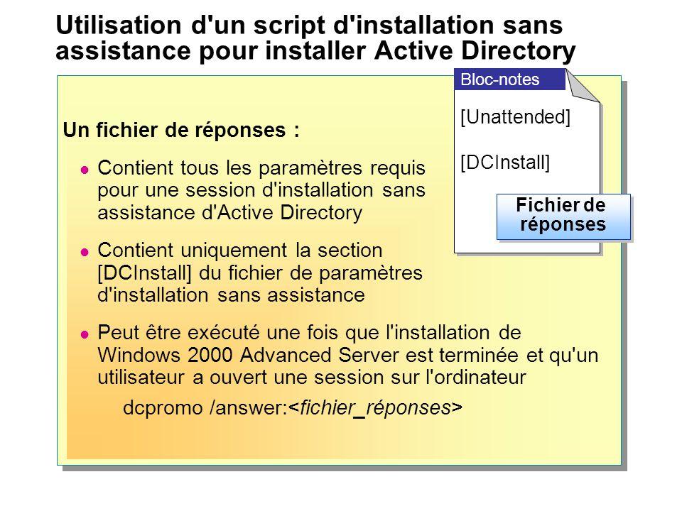 Utilisation d'un script d'installation sans assistance pour installer Active Directory Un fichier de réponses : Contient tous les paramètres requis po