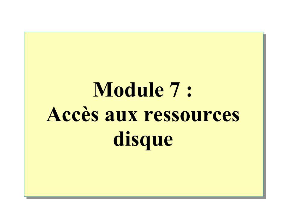 Module 7 : Accès aux ressources disque