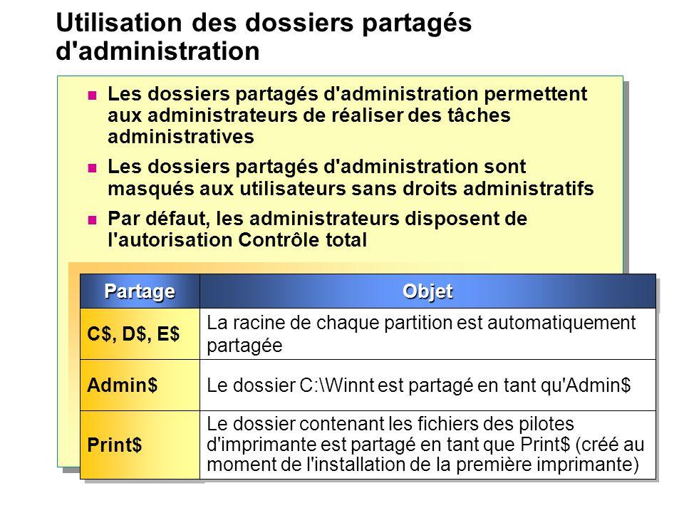 Utilisation des dossiers partagés d'administration Les dossiers partagés d'administration permettent aux administrateurs de réaliser des tâches admini
