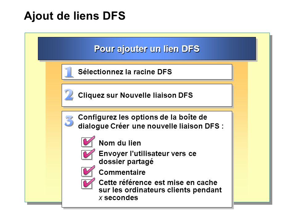 Ajout de liens DFS Pour ajouter un lien DFS Cliquez sur Nouvelle liaison DFS Sélectionnez la racine DFS Configurez les options de la boîte de dialogue