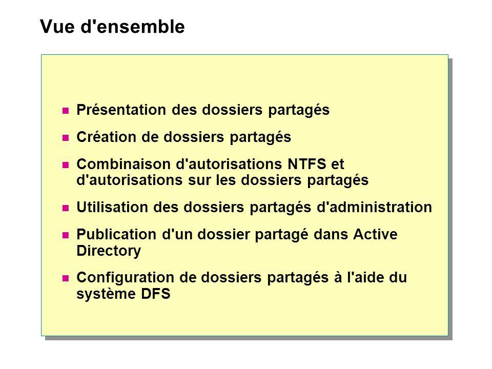 Vue d'ensemble Présentation des dossiers partagés Création de dossiers partagés Combinaison d'autorisations NTFS et d'autorisations sur les dossiers p