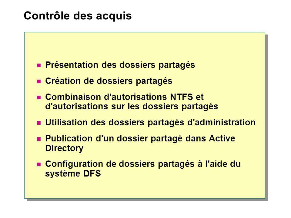 Contrôle des acquis Présentation des dossiers partagés Création de dossiers partagés Combinaison d autorisations NTFS et d autorisations sur les dossiers partagés Utilisation des dossiers partagés d administration Publication d un dossier partagé dans Active Directory Configuration de dossiers partagés à l aide du système DFS
