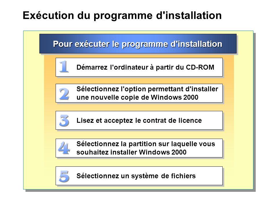 Exécution du programme d installation Démarrez l ordinateur à partir du CD-ROM Sélectionnez l option permettant d installer une nouvelle copie de Windows 2000 Lisez et acceptez le contrat de licence Sélectionnez la partition sur laquelle vous souhaitez installer Windows 2000 Sélectionnez un système de fichiers Pour exécuter le programme d installation