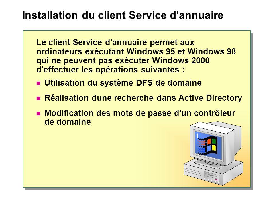 Installation du client Service d annuaire Le client Service d annuaire permet aux ordinateurs exécutant Windows 95 et Windows 98 qui ne peuvent pas exécuter Windows 2000 d effectuer les opérations suivantes : Utilisation du système DFS de domaine Réalisation dune recherche dans Active Directory Modification des mots de passe d un contrôleur de domaine