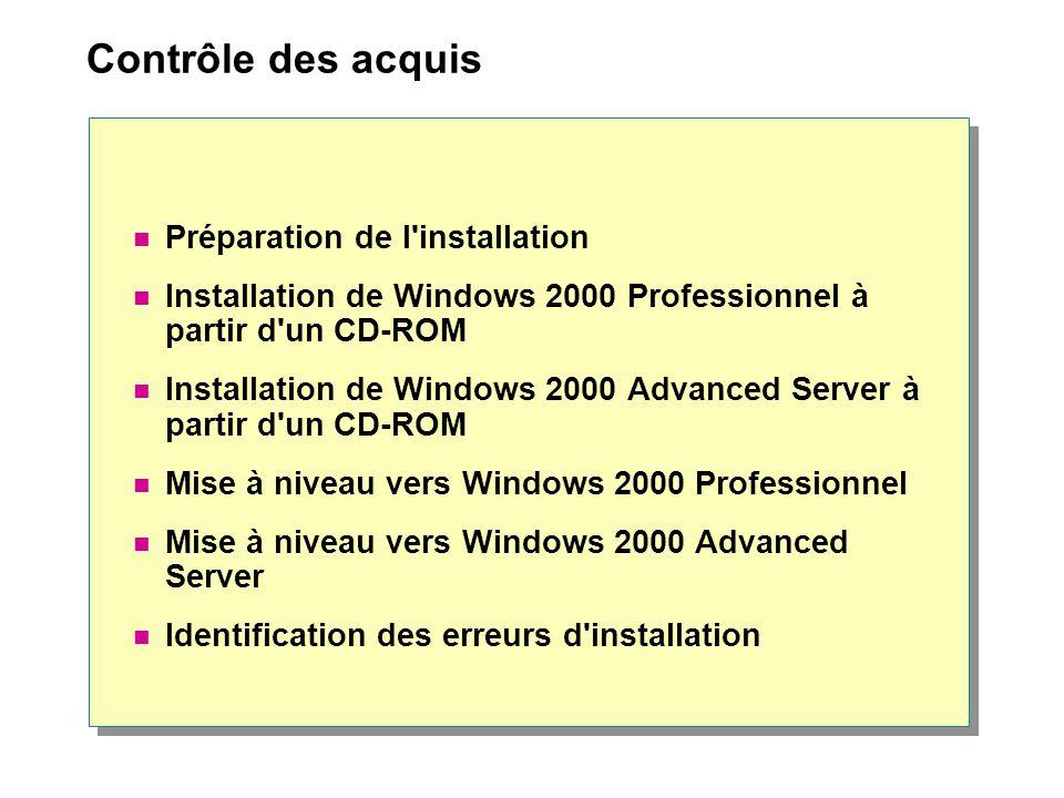 Contrôle des acquis Préparation de l'installation Installation de Windows 2000 Professionnel à partir d'un CD-ROM Installation de Windows 2000 Advance