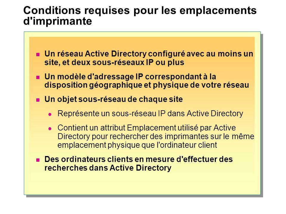 Conditions requises pour les emplacements d'imprimante Un réseau Active Directory configuré avec au moins un site, et deux sous-réseaux IP ou plus Un