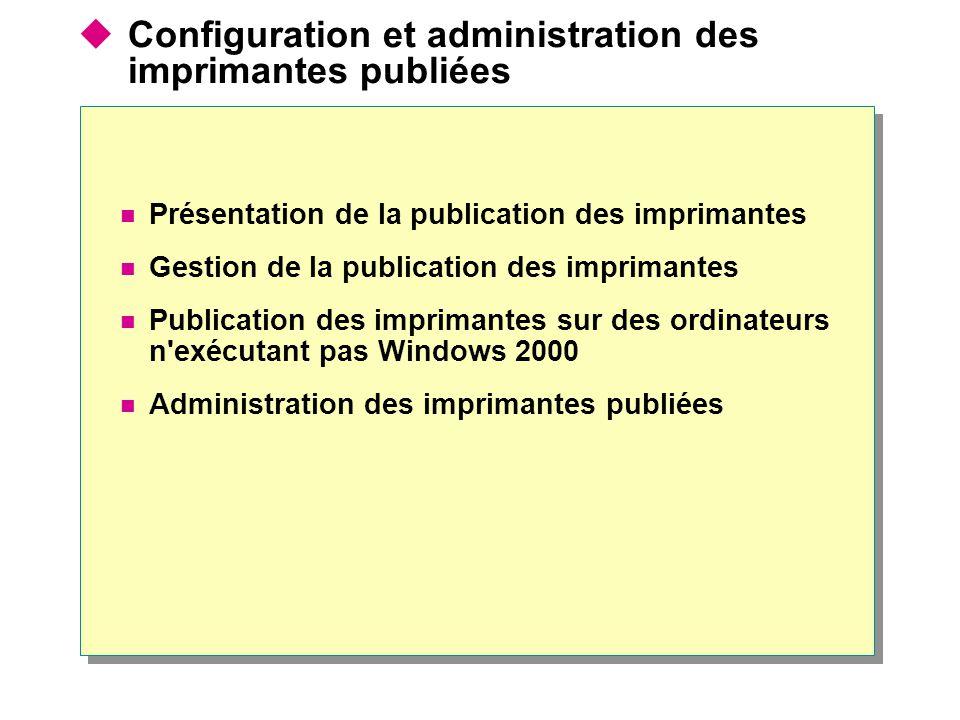Configuration et administration des imprimantes publiées Présentation de la publication des imprimantes Gestion de la publication des imprimantes Publ