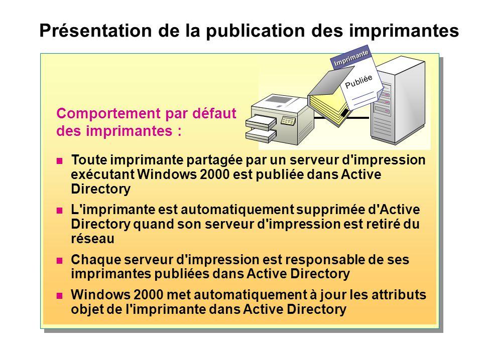 Gestion de la publication des imprimantes Affichage des objets imprimante Dans le menu Affichage, cliquez sur Utilisateurs, Groupes et Ordinateurs en tant que conteneurs Contrôle de la publication des imprimantes Activez ou désactivez la case à cocher Liste dans l annuaire Configurez le paramètre de Stratégie de groupe Publier automatiquement les nouvelles imprimantes dans l annuaire Active Directory Gestion des imprimantes orphelines Active Directory supprime les objets imprimante orpheline à l aide du nettoyeur Le nettoyeur supprime régulièrement les objets imprimante des imprimantes non existantes