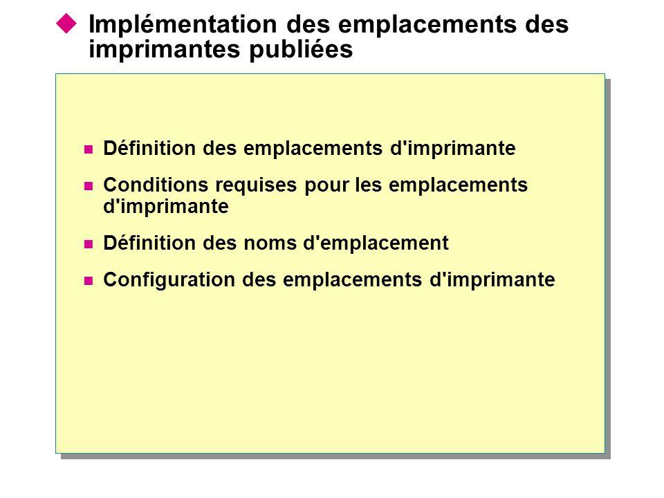 Implémentation des emplacements des imprimantes publiées Définition des emplacements d'imprimante Conditions requises pour les emplacements d'impriman