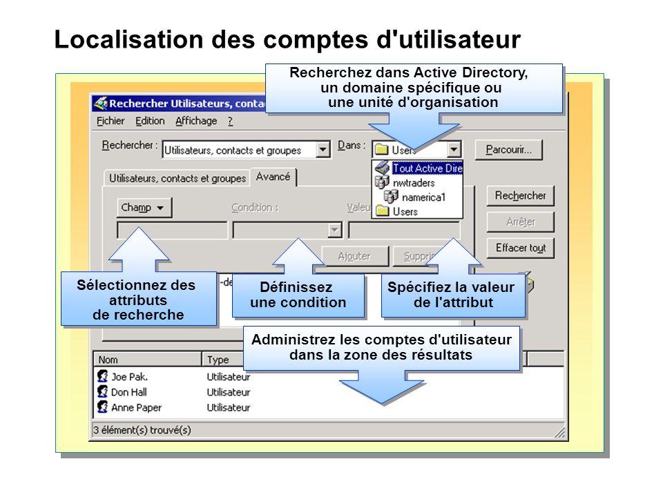 Localisation des comptes d'utilisateur Sélectionnez des attributs de recherche Sélectionnez des attributs de recherche Spécifiez la valeur de l'attrib