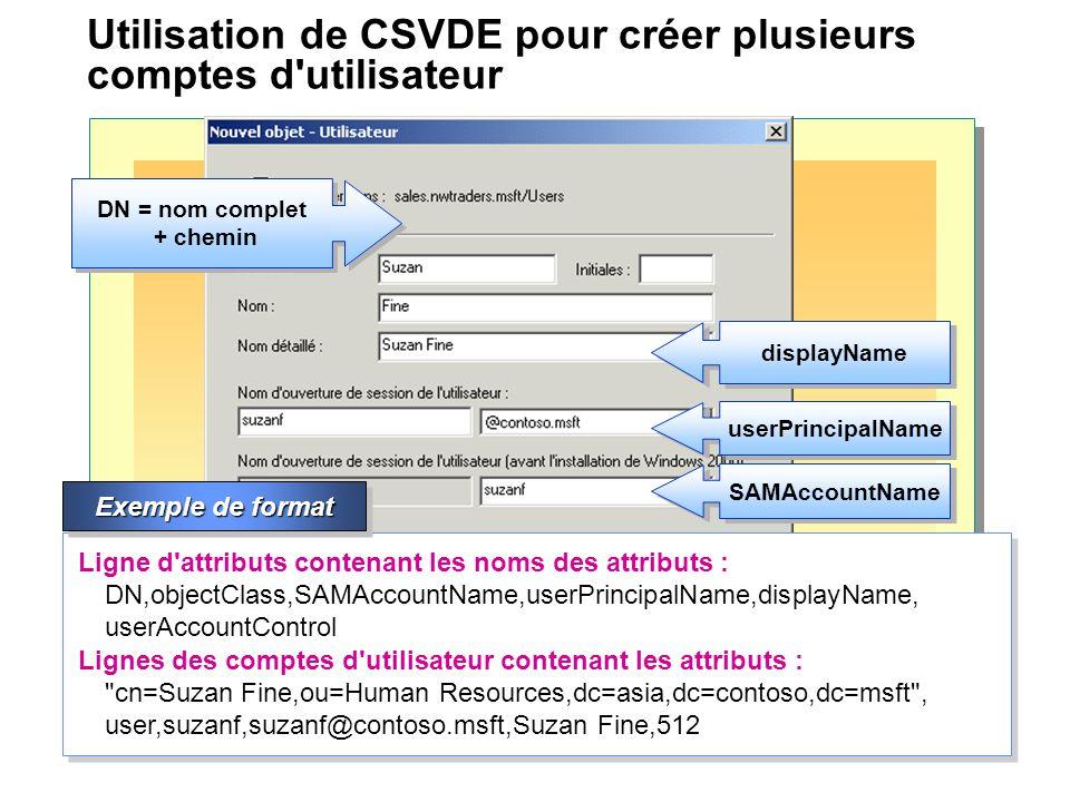 Utilisation de CSVDE pour créer plusieurs comptes d'utilisateur objectClass displayName userPrincipalName DN = nom complet + chemin Ligne d'attributs