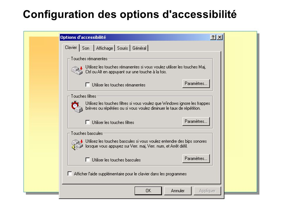 Configuration des options d accessibilité