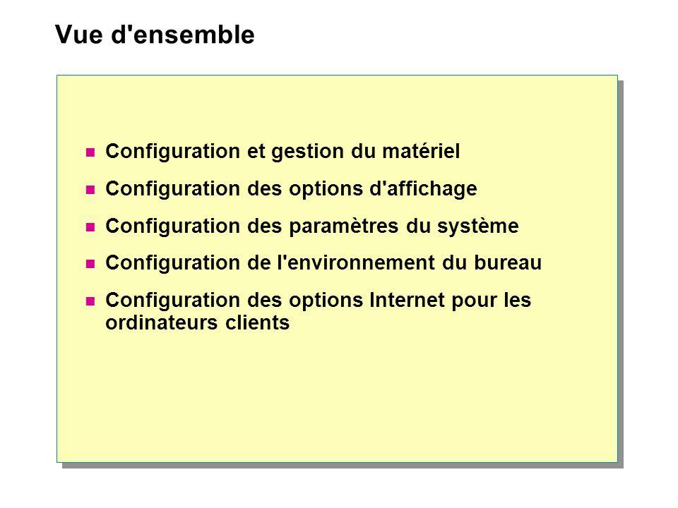 Contrôle des acquis Configuration et gestion du matériel Configuration des options d affichage Configuration des paramètres du système Configuration de l environnement du bureau Configuration des options Internet pour les ordinateurs clients