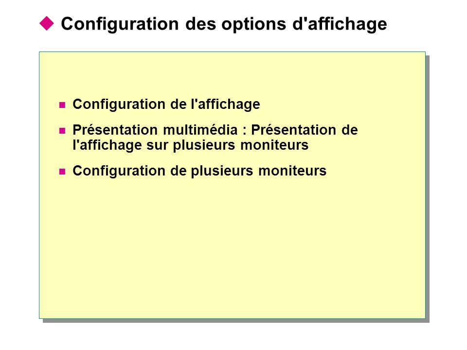 Configuration de l affichage