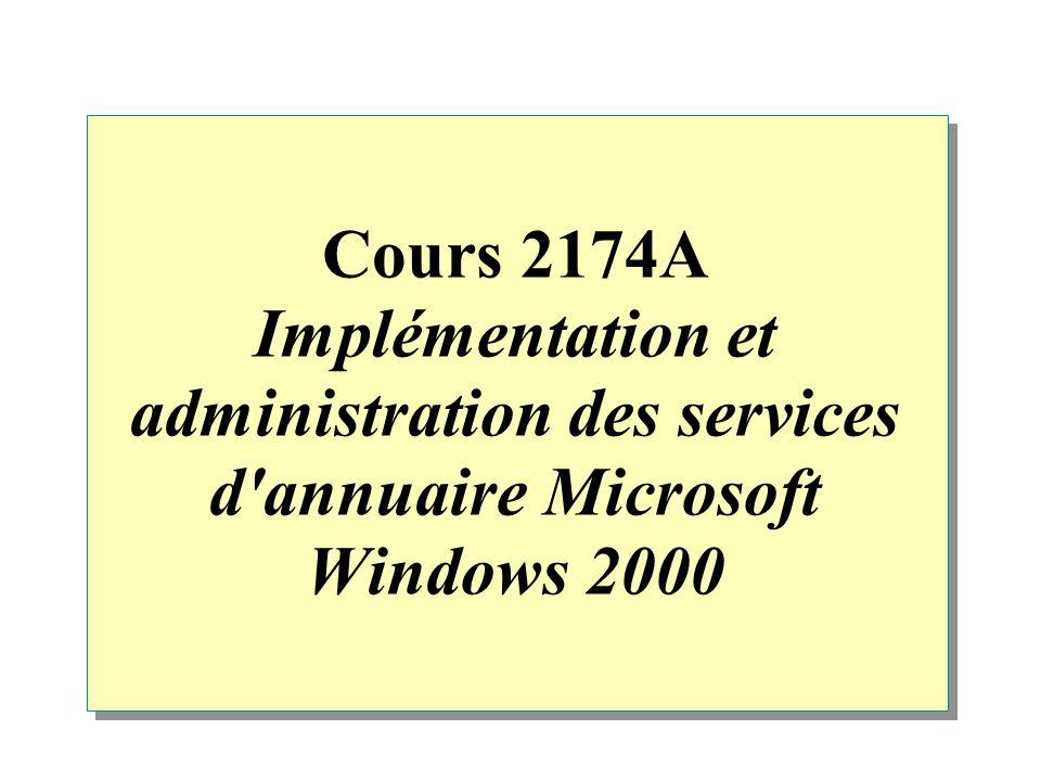 Cours 2174A Implémentation et administration des services d annuaire Microsoft Windows 2000