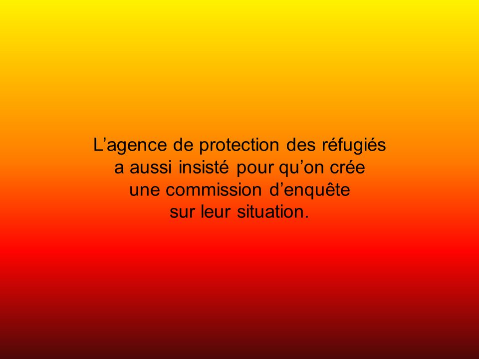 Lagence de protection des réfugiés a aussi insisté pour quon crée une commission denquête sur leur situation.