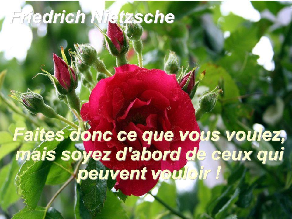 Friedrich Nietzsche Faites donc ce que vous voulez, mais soyez d'abord de ceux qui peuvent vouloir !