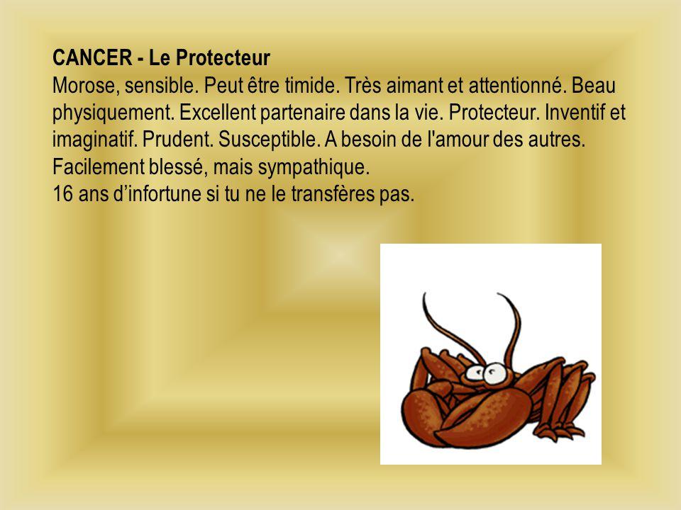 CANCER - Le Protecteur Morose, sensible.Peut être timide.