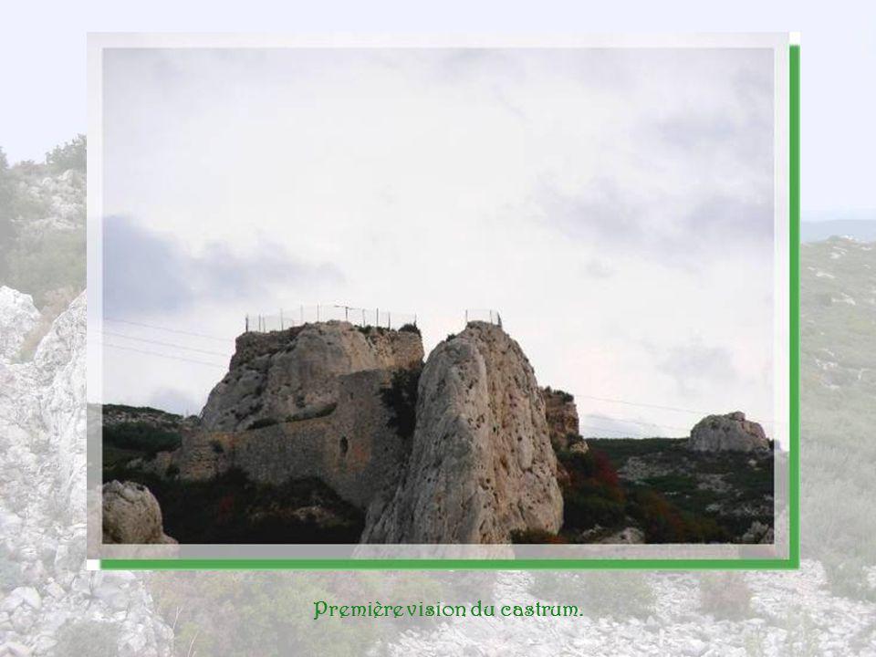 Après quelques minutes de marche et une première montée, nous arrivons au pied des ruines dun château qui dut être imposant à son avènement! Il se dre