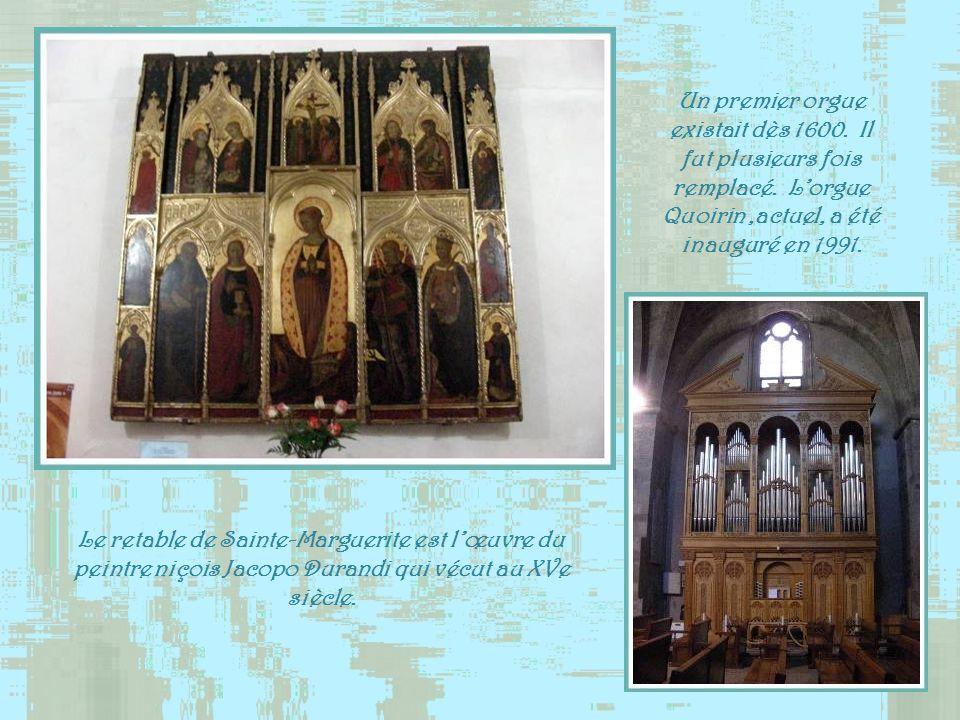 Le retable de Sainte-Marguerite est lœuvre du peintre niçois Jacopo Durandi qui vécut au XVe siècle.