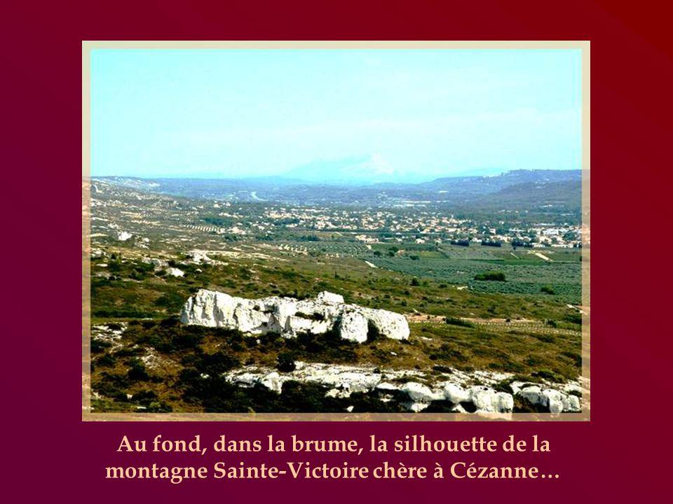 Au fond, dans la brume, la silhouette de la montagne Sainte-Victoire chère à Cézanne…
