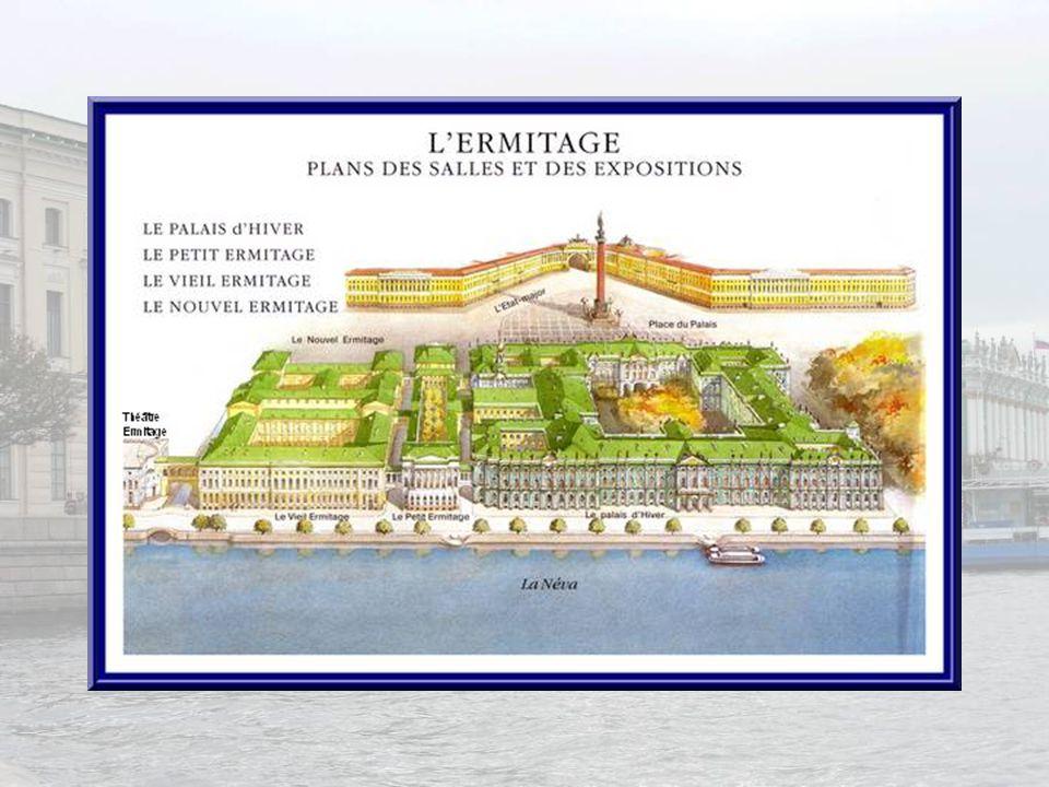 Pierre le Grand fut le premier à établir un palais dhiver au bord de la Neva, mais cest entre 1754 et 1762 quElisabeth Petrovna fit ériger, selon les