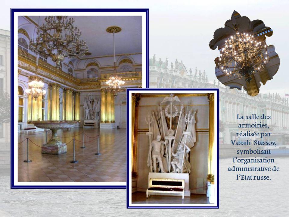 La salle Pierre le Grand (petite salle du Trône) fut aménagée, en 1833, par Auguste Ricard de Montferrand et restaurée après lincendie selon les ancie
