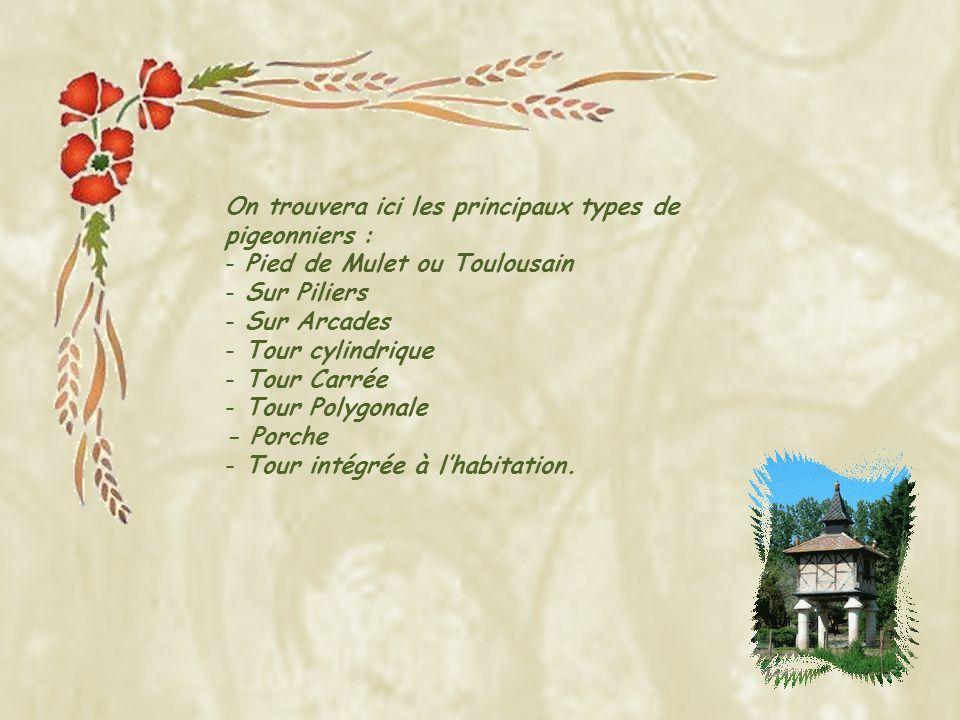 On trouvera ici les principaux types de pigeonniers : - Pied de Mulet ou Toulousain - Sur Piliers - Sur Arcades - Tour cylindrique - Tour Carrée - Tour Polygonale - Porche - Tour intégrée à lhabitation.