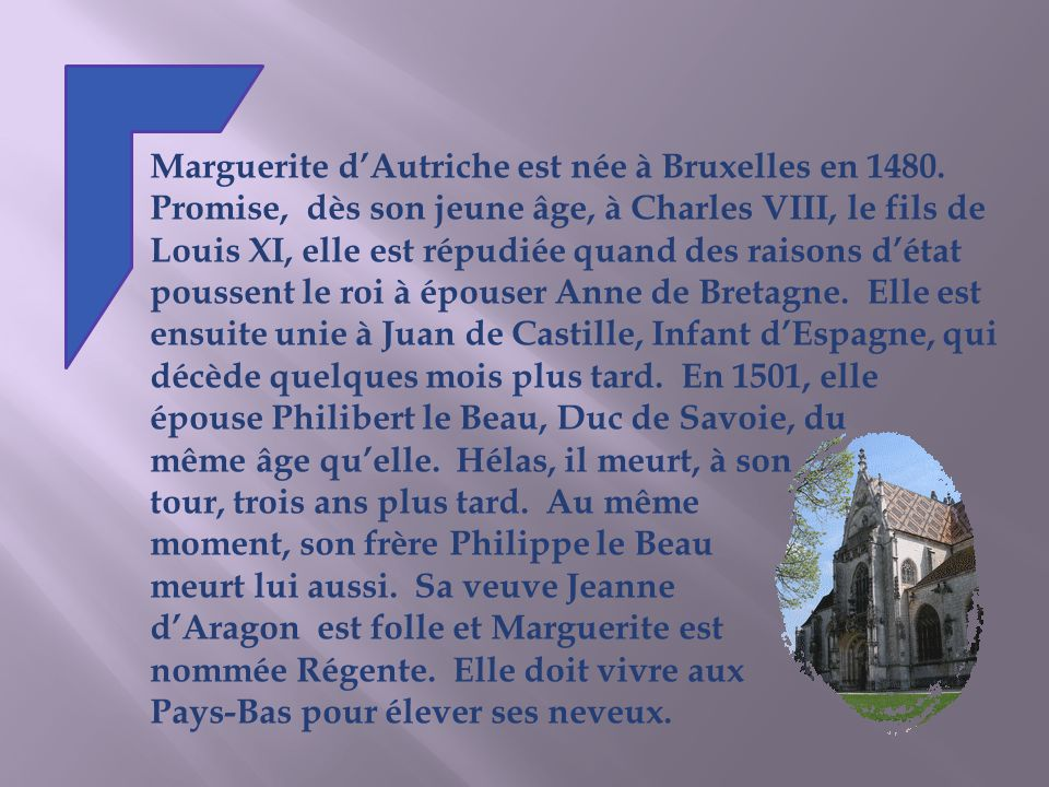 Marguerite dAutriche est née à Bruxelles en 1480.