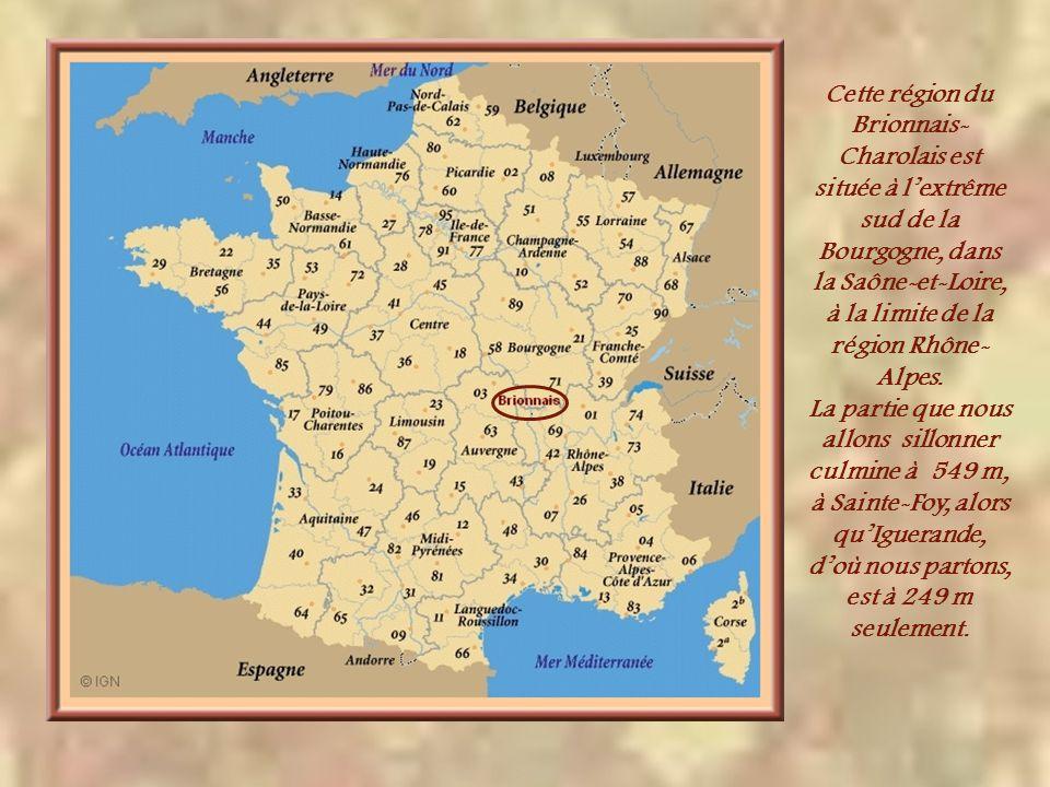 Cette région du Brionnais- Charolais est située à lextrême sud de la Bourgogne, dans la Saône-et-Loire, à la limite de la région Rhône- Alpes.