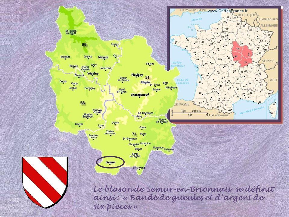 Le blason de Semur-en-Brionnais se définit ainsi : « Bandé de gueules et dargent de six pièces »