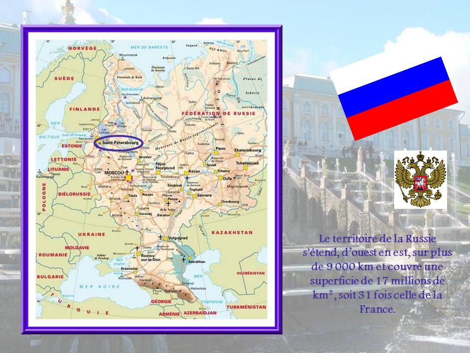 Le territoire de la Russie s étend, douest en est, sur plus de 9 000 km et couvre une superficie de 17 millions de km², soit 31 fois celle de la France.