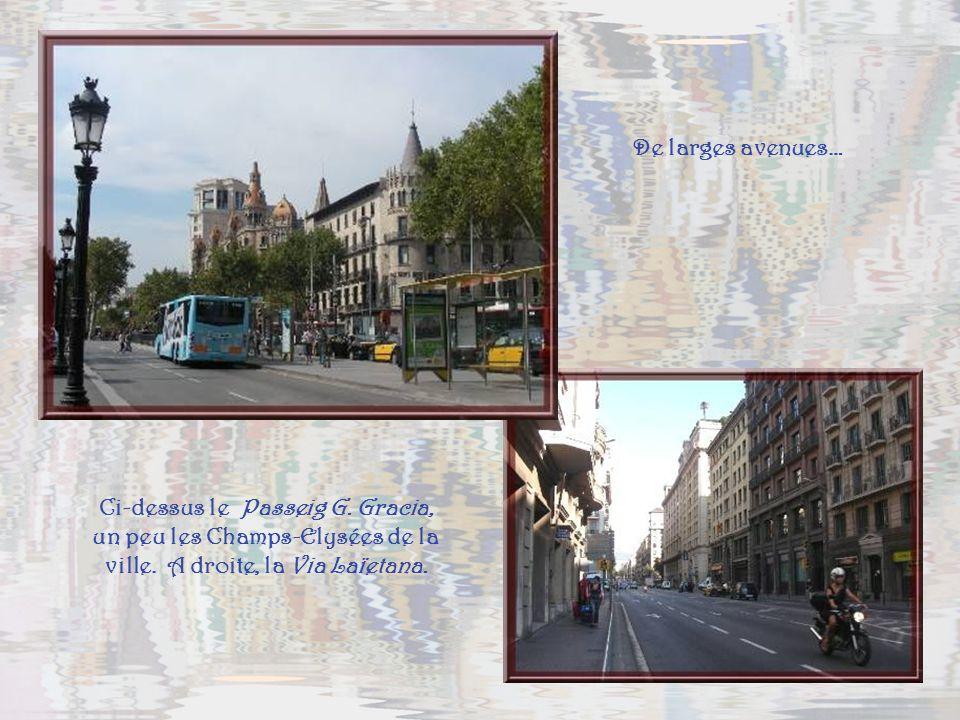 Les grandes avenues débouchent souvent sur dimmenses places dont la magnifique Plaça de Catalunya. Son centre est occupé par un mini-parc, entouré dim