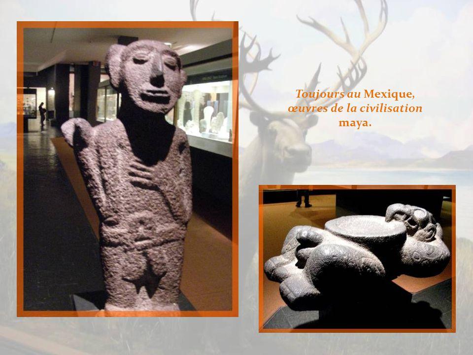 Nous nous transportons maintenant en Amérique centrale, avec cette représentation olmèque malheureusement de mauvaise qualité, la plus ancienne et la plus mystérieuse civilisation du Mexique.