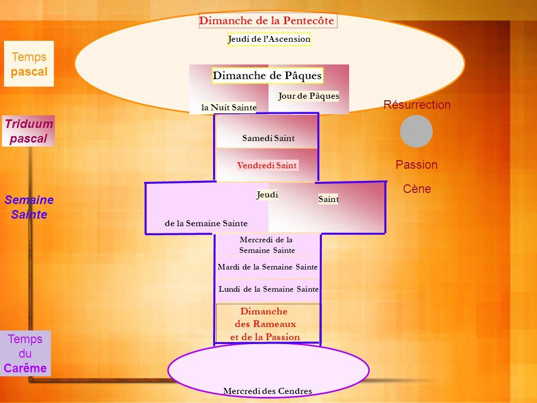 Mercredi des Cendres Dimanche de la Pentecôte Dimanche des Rameaux et de la Passion Lundi de la Semaine Sainte Mardi de la Semaine Sainte Mercredi de