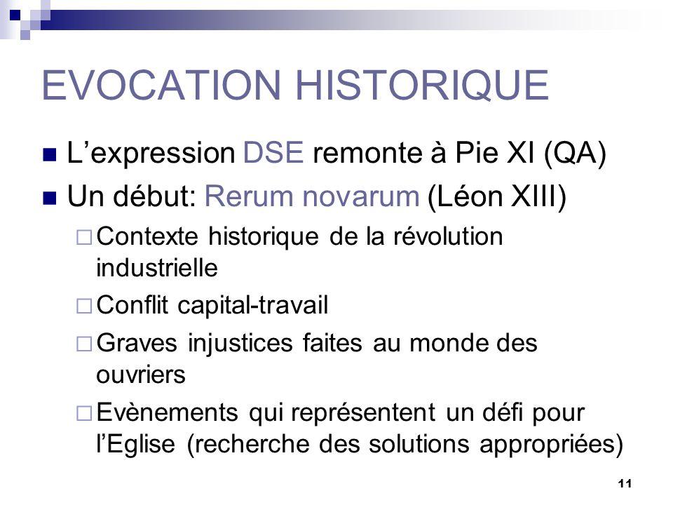 11 EVOCATION HISTORIQUE Lexpression DSE remonte à Pie XI (QA) Un début: Rerum novarum (Léon XIII) Contexte historique de la révolution industrielle Co