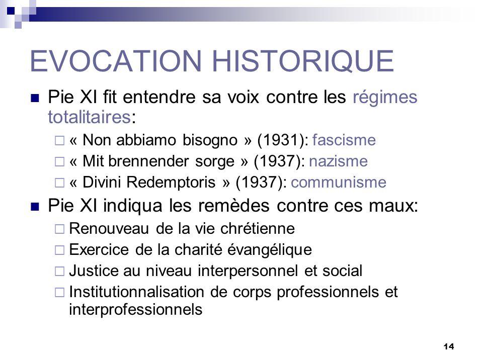 14 EVOCATION HISTORIQUE Pie XI fit entendre sa voix contre les régimes totalitaires: « Non abbiamo bisogno » (1931): fascisme « Mit brennender sorge »