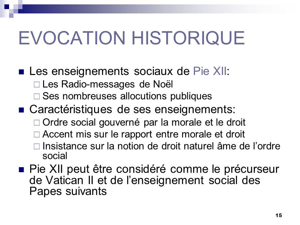 15 EVOCATION HISTORIQUE Les enseignements sociaux de Pie XII: Les Radio-messages de Noël Ses nombreuses allocutions publiques Caractéristiques de ses