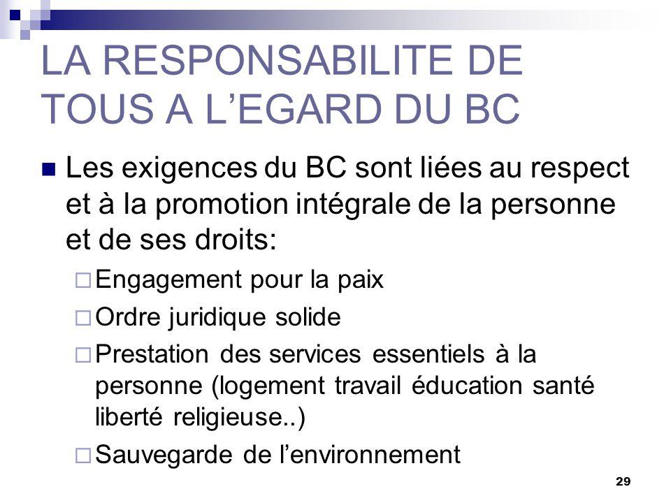 29 LA RESPONSABILITE DE TOUS A LEGARD DU BC Les exigences du BC sont liées au respect et à la promotion intégrale de la personne et de ses droits: Eng