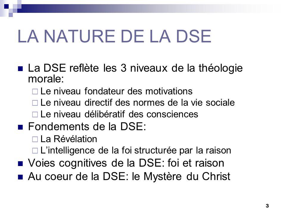 3 LA NATURE DE LA DSE La DSE reflète les 3 niveaux de la théologie morale: Le niveau fondateur des motivations Le niveau directif des normes de la vie