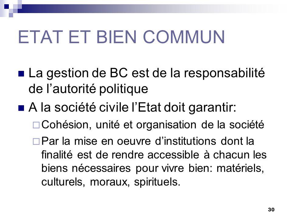 30 ETAT ET BIEN COMMUN La gestion de BC est de la responsabilité de lautorité politique A la société civile lEtat doit garantir: Cohésion, unité et or