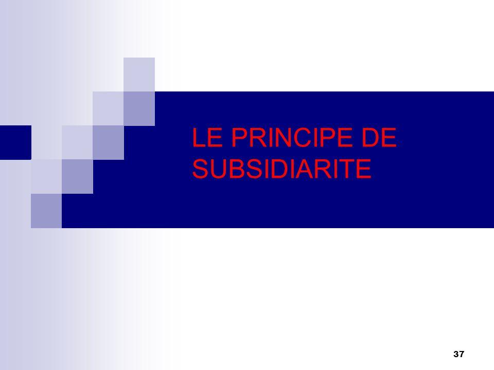 37 LE PRINCIPE DE SUBSIDIARITE